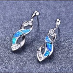 Sterling silver fire blue opal twist Earrings